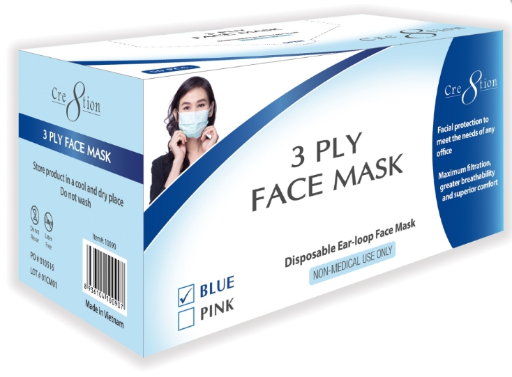 Cre8tion 3 Ply Face Mask Box Blue Kelly Nail